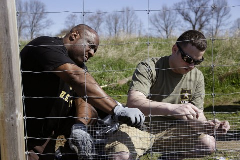 Army Recruiters Give Back by Refurbishing Fence at Dahlem Ecology Farm